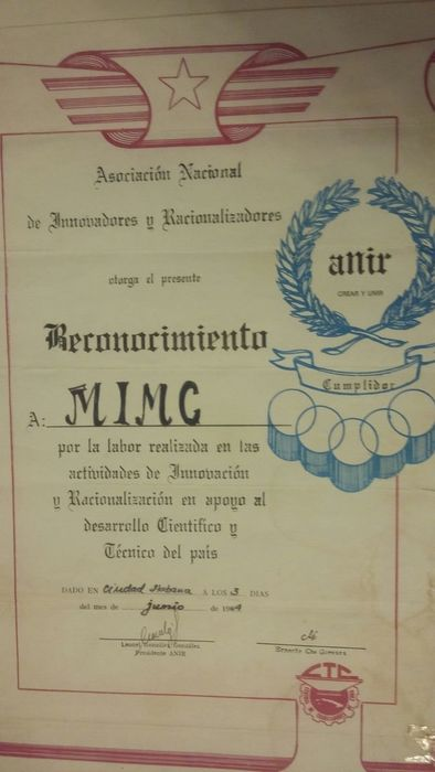Che Guevara - Asociacion Nacional. Award for technical works. Signed by Che Guevara - 1964