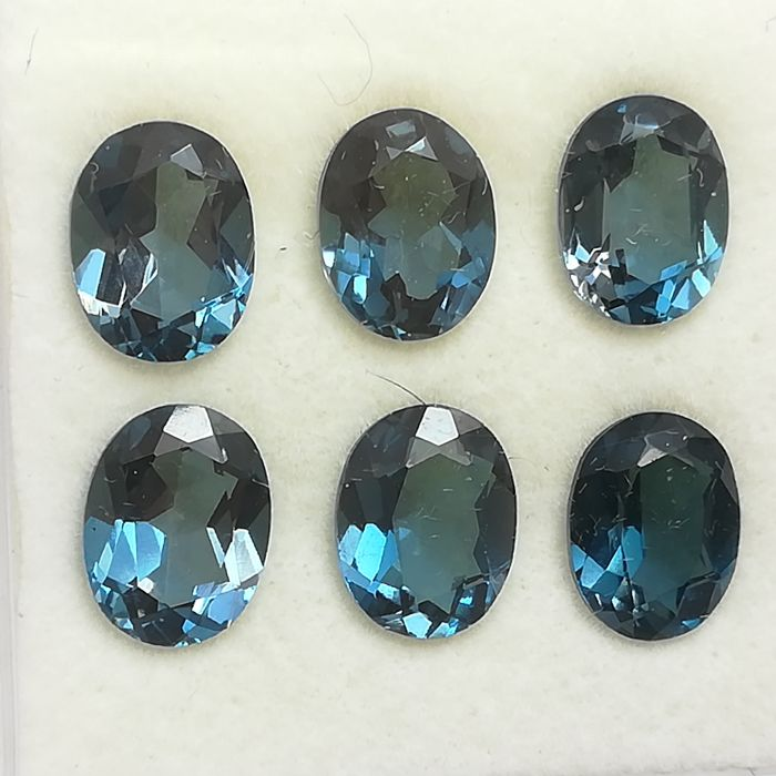 Lot of 6 London Blue Topazes - 13.90 ct