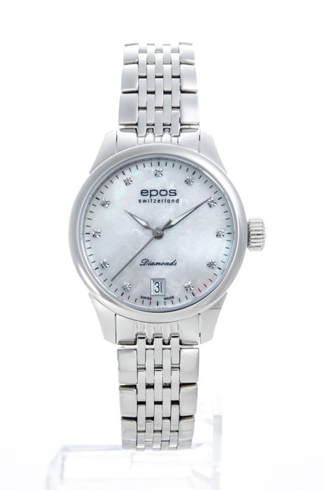 Epos - White Mother Of Pearl with 11 Diamond Automatic - 4426-S/S-WHT-DIAM-INDEX - Naiset - 2011-nykypäivä