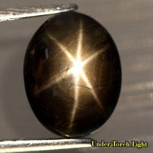 Oval Cabochon Black Natural Sapphire Unheated 6 Rays - 11,2x8,8x5,1mm - 5,87ct