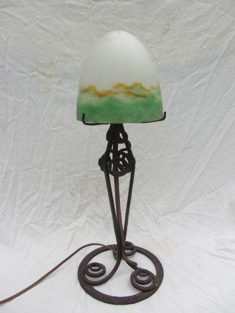 Muller Freres Table Lamp With Wrought Iron Base Catawiki