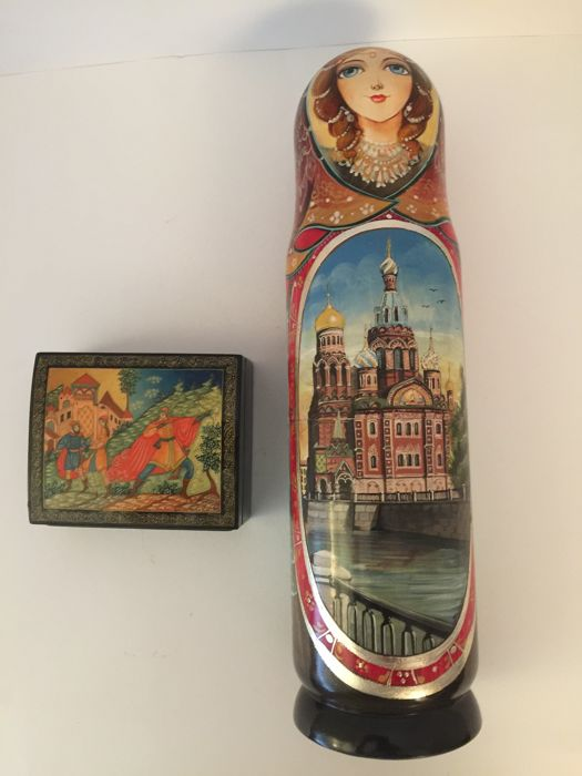 A signed and numbered Russian  Kholui miniature painting on a Lacquer Box & a signed hand painted Matryoshka  Bottle Holder