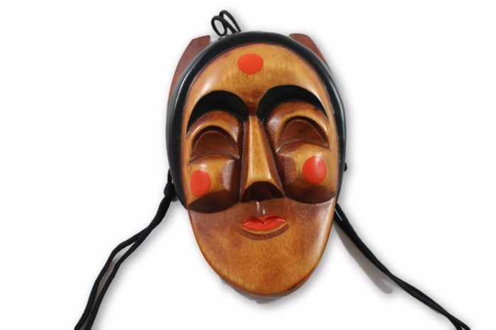 Wooden Face Mask - Princess of The Night - Japanese Vintage - Handmade - Painted - Carved