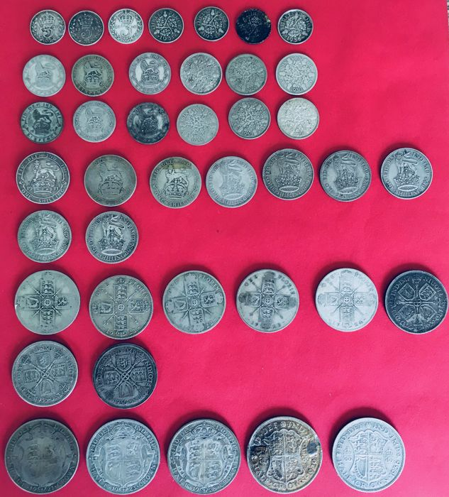 Groot-Brittannië - 3 Pence up to and including ½ Crown 1912/1936 George V (41 pieces) - silver
