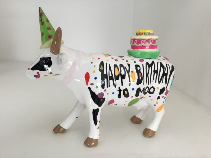 Cow Parade Cowparade - Happy Birthday to Moo - medium ceramic