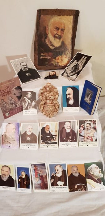 Padre Pio - interesting lot of various items concerning the Saint - large picture, stoup, five relics, various holy cards and more...