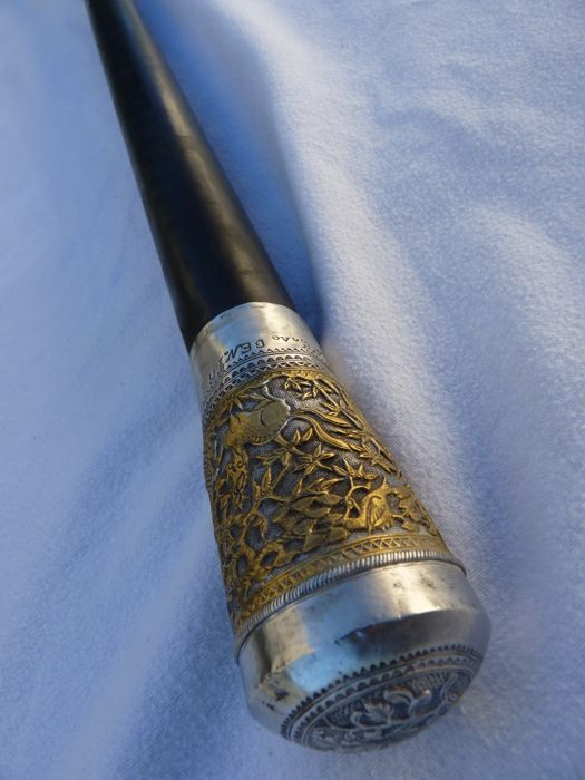 Walking stick - handle in ebony, head in silver and gold - Japan - circa 1900