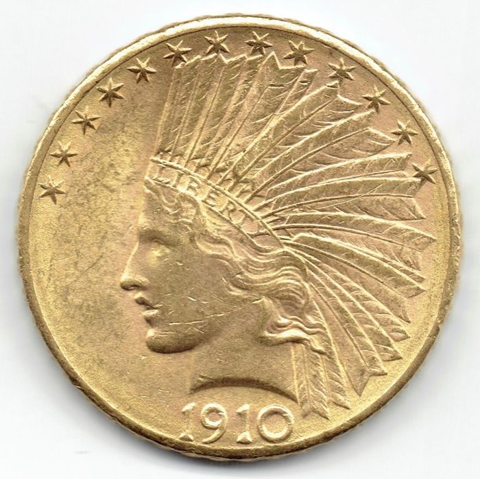 Verenigde Staten - 10 Dollars 1910-D Indian Head - Goud