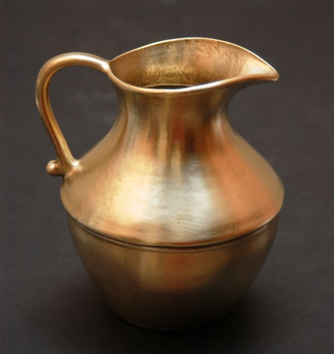 Antique Solid Brass Handmade Pitcher, European, ca. 1870s