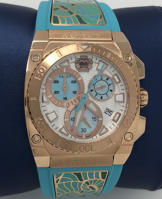 Savoy - Icon Light Chronograph 35 mm Turquoise Rose Gold Swiss Made  - C4409E.01G.RK15 - Dames - NEW