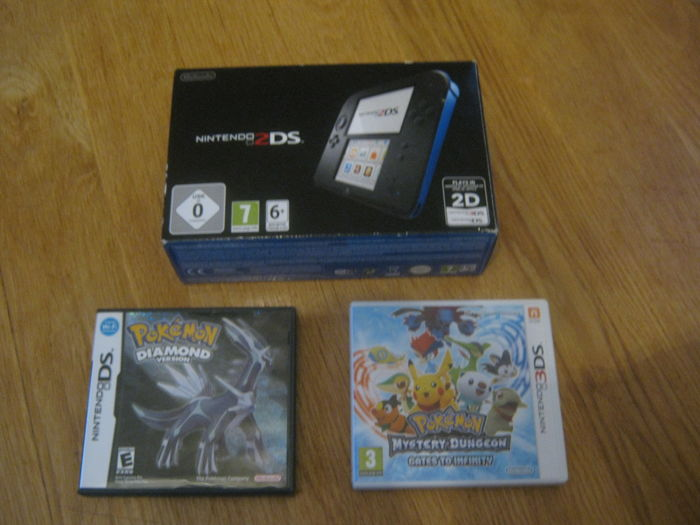New Nintendo 2DS+ 2 3DS pokemon games as: Pokemon Diamond and Pokemon Dungeon(gates to infinety)