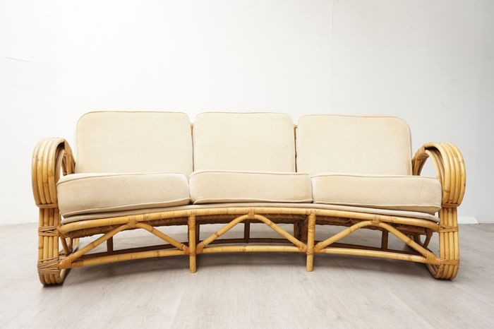 Producer unknown - Large curved vintage rattan/bamboo sofa - Catawiki