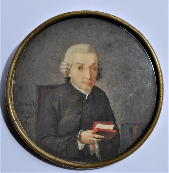 Miniature on ivory - France - 18th century - signed and dated 1788