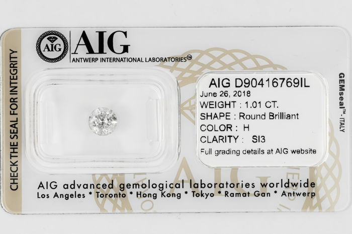 1.01 CT Round Brilliant Cut  H / SI3  *** Low Reserve ***