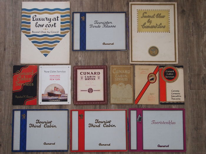 Collection of 12 Cunard Brochures/ Cabin service booklets from the 1920/30s (12) - Paper - Early 20th century