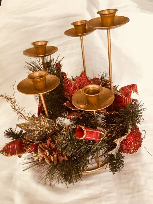 Christmas Center, 5 candle candlestick - Metal and Textiles