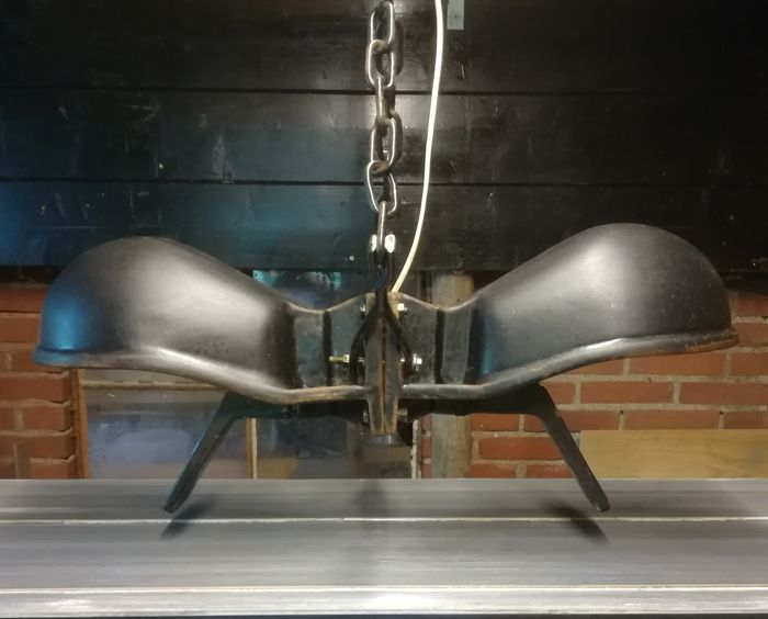 One of a kind industrial hanging lamp with two separate light sources