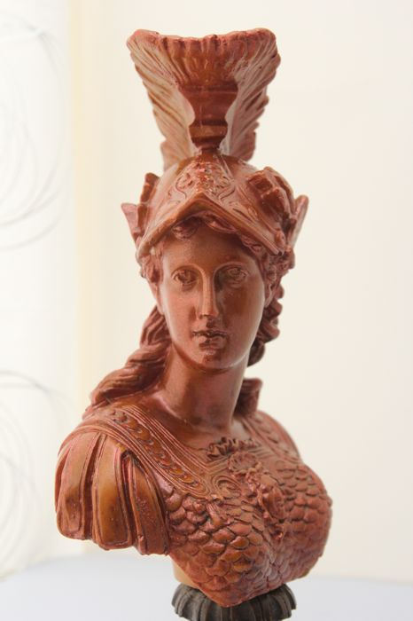 Gorgeous sculpture depicting the bust of the Roman mythological goddess Minerva, symbol of wisdom