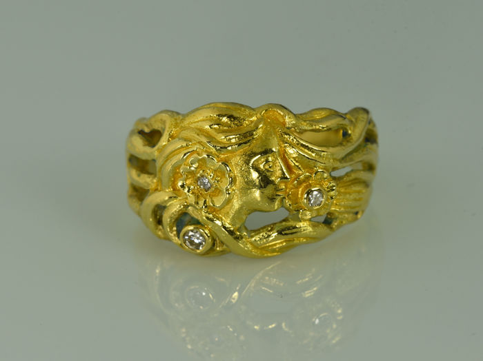 Gold 18 kt  Ring with diamonds Size: 57 (ø 18.2 mm)