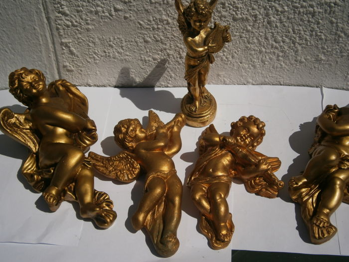 Set of angels and cherubs gold and gilded plaster end circa 1950 France