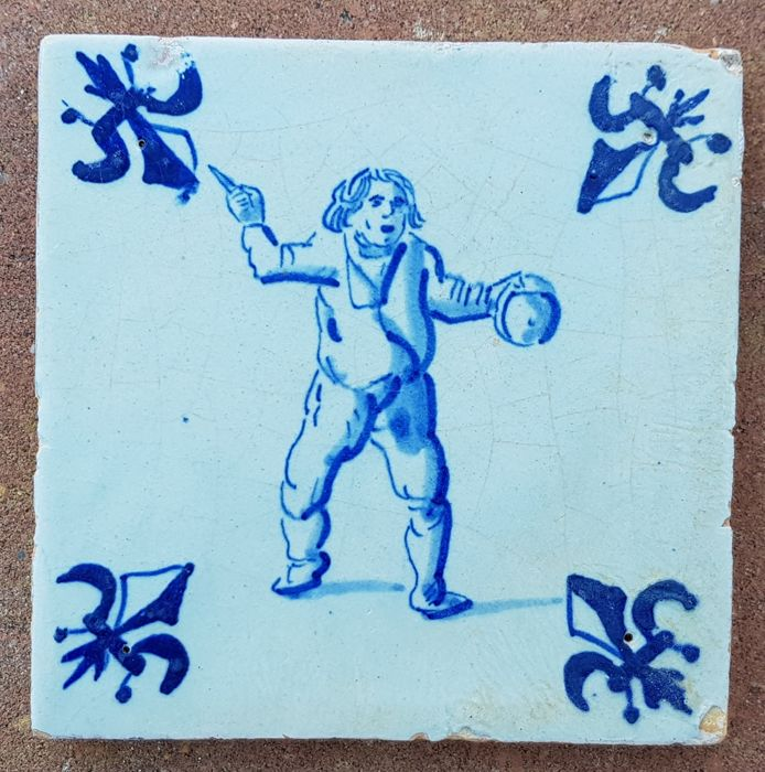 Tile of a man with a knife, special depiction