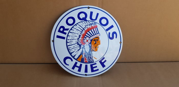 Emaille bord IROQUOIS CHIEF - 21ste eeuw