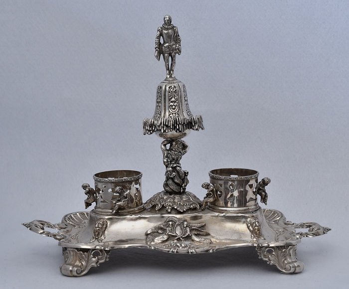 Silver table top inkwell, possible country of origin Spain, 19 century