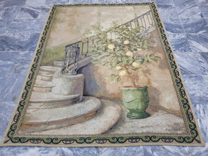 Vintage pictorial tapestry , USA 193 cm x 148 cm