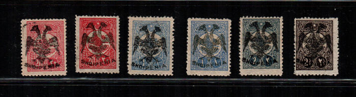 Albanië 1913 - Overprinted stamps of Turkey - Unificato NN. 6 - 6A - 7(x2) - 8 - 9