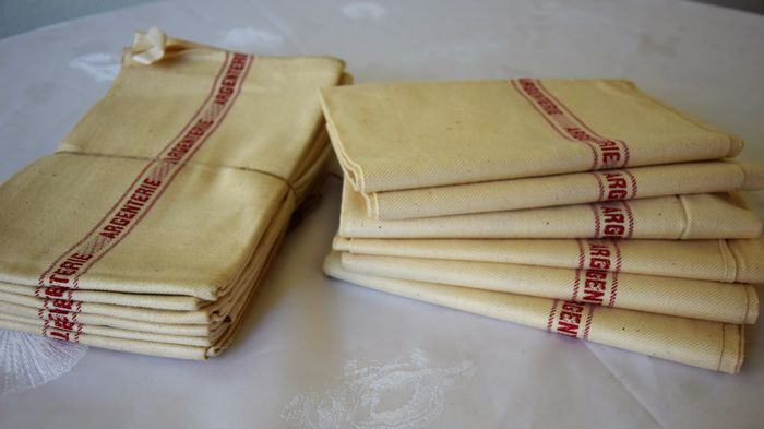 12 antique cloths for SILVERWARE - Ecru linen canvas fabric