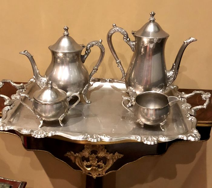 Antique Art Nouveau  silver plated mixed coffee and tea service set Ca 1950
