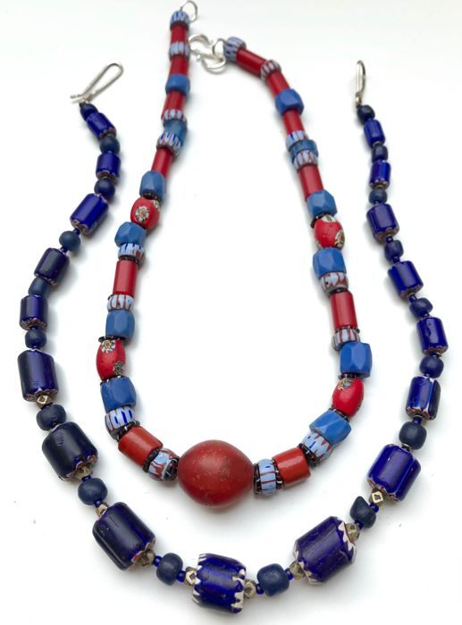 Two necklaces with old Venetian and bohemian beads: chevrons, Russian blue, awale, whitehearts