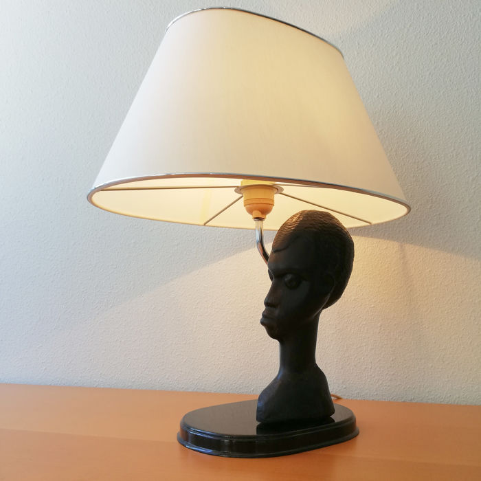 Vintage African Handcarved Wooden Bust Lamp - 20th century