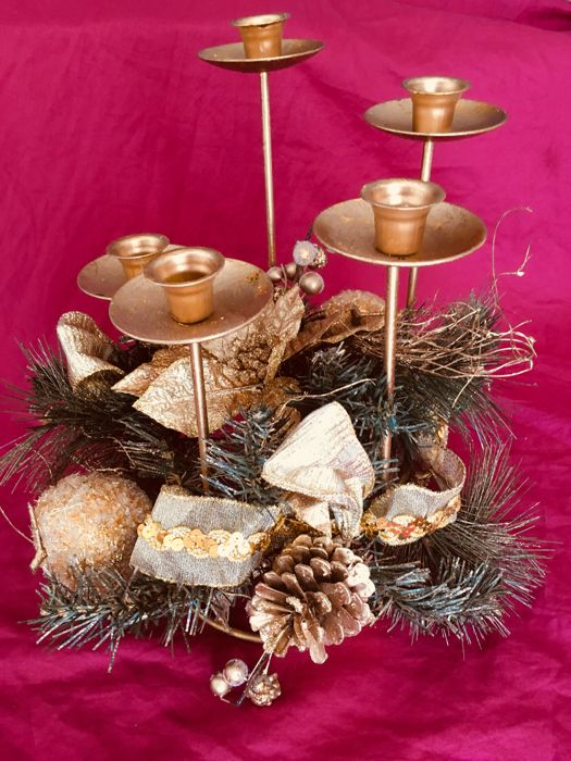 Christmas center with 5 candles - Metal and Textiles