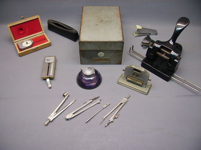 Set of 1950's Desk Accessories/Calendar/ Paper Punch/Scales and Dynamometer