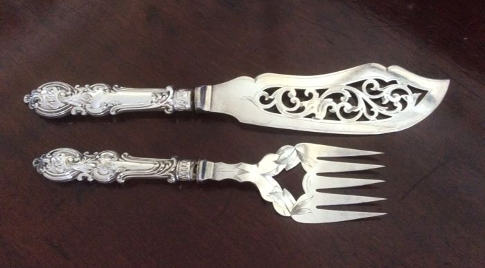 Antique Victorian Ornate Silver plated fish servers  England