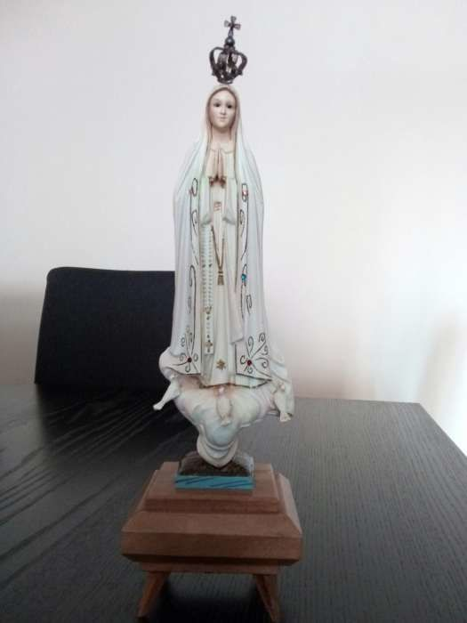Religious antique sculpture of Our Lady of Fátima with music box - First half 20th Century - Portugal