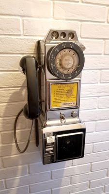 Public telephone USA authentic 1955-70 Northern Electric 233 Chrome