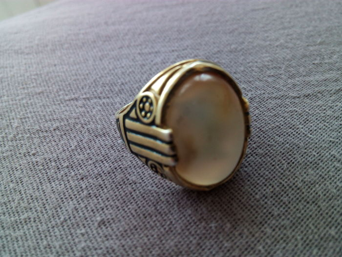 Antique ring in 800 silver with fire agate cabochon 15 ct