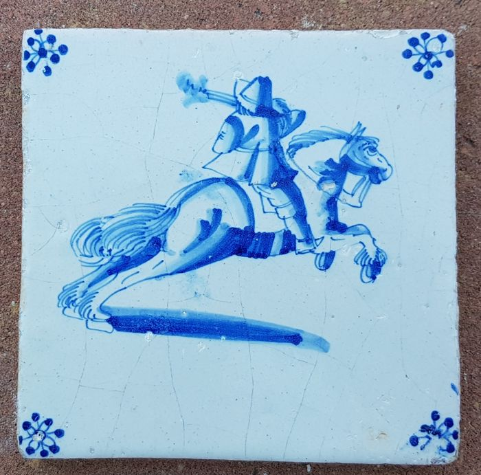 Tile with a depiction of a horseman, special depiction