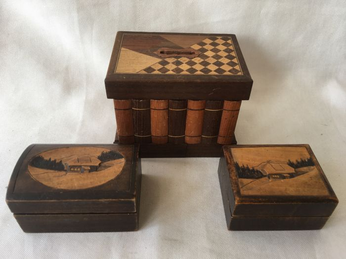 Three Wooden Handmade Boxes A Piggy Bank With Secret Compartment Plus Two