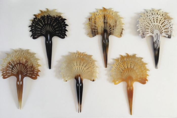 6 carved buffalo horn hairpins