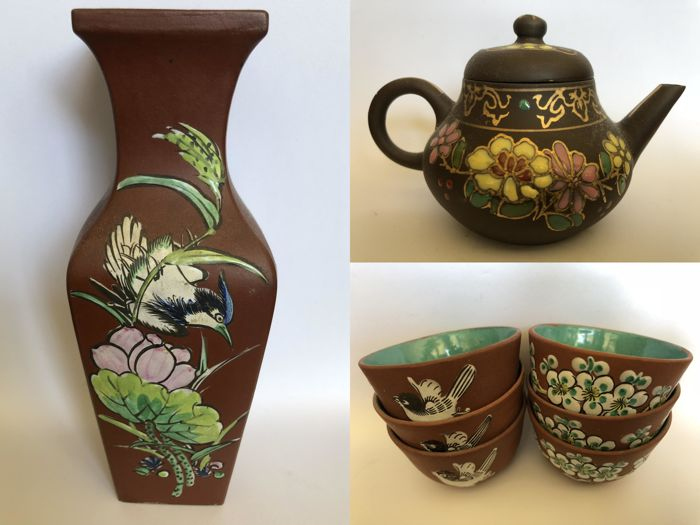 Yixing 6 pcs With Falangcai Enamel Painting Decor with Birds and flowers - mid-second half 20th century