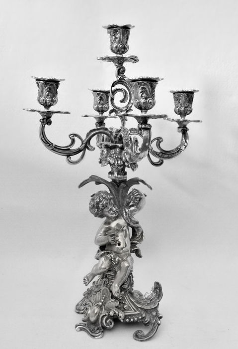 Silver 5-flame candelabra, Baroque style revival Italy - 20th century