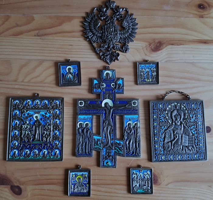 Orthodox Russia - 6 icons ,  cross and Tsar's Eagle with Saint George - all made of brass - everything 8 pieces