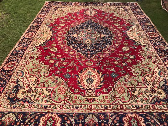 Vintage tabriz Hand made Large Area Rug 361 x 273 cm