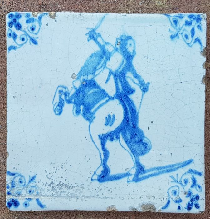 Tile with horseman, special depiction