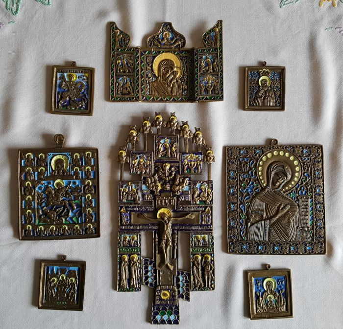 Russia - Orthodox cross + 6 icons + travel icon -  made of brass - together 8 pieces