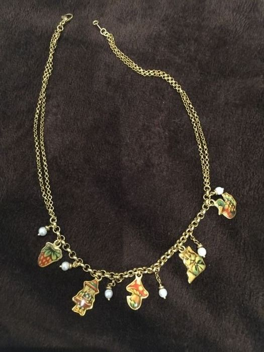18 kt gold necklace with 7 pendants