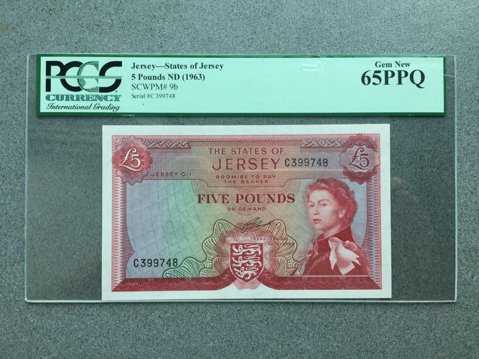 Jersey - 5 Pounds 1963 - Pick 9b - PCGS 65 Gem UNC - PPQ